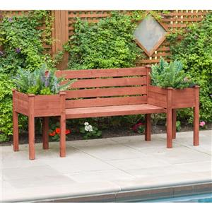 Leisure Season Wooden Bench with Planters - 79'' x 20'' x 38''