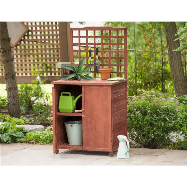 Leisure Season Potting Table With Storage - 24-in x 32-in x 61-in