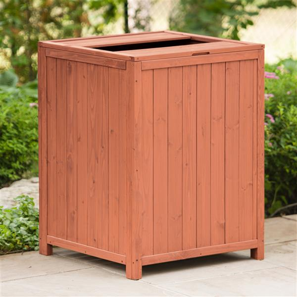 Leisure Season Wooden Patio Trash Receptacle - 26-in W x 26-in D x 34-in H