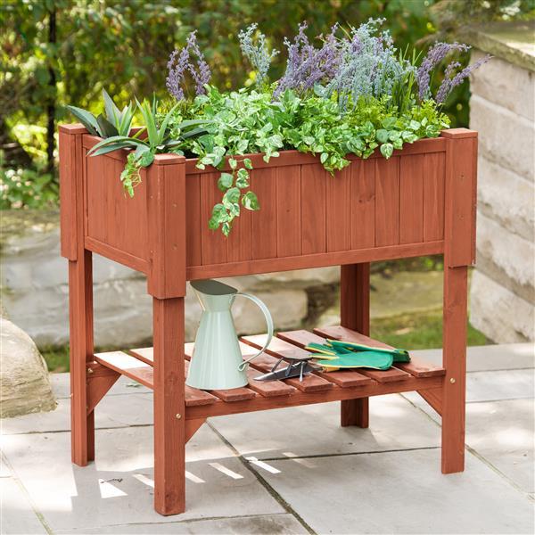 Raised Planters On Legs: Leisure Season Raised Wooden Planter Box