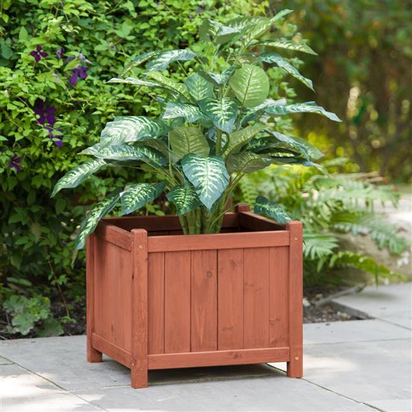 Leisure Season Square Wooden Planter Box - 18'' x 18'' x 16''