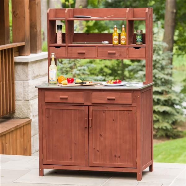 Wooden Outdoor Kitchen Prep Station