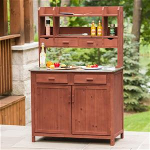 Leisure Season Wooden Outdoor Kitchen Prep Station