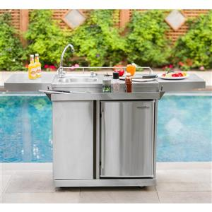 Leisure Season Outdoor Kitchen Cart & Beverage Center With Fridge & Sink