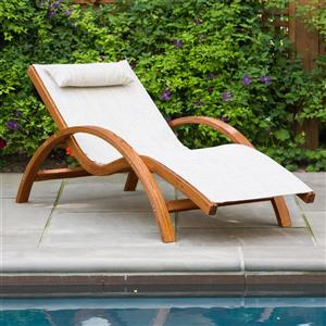 Leisure Season Sling Lounge Chair - 63-in x 27-in x 28-in