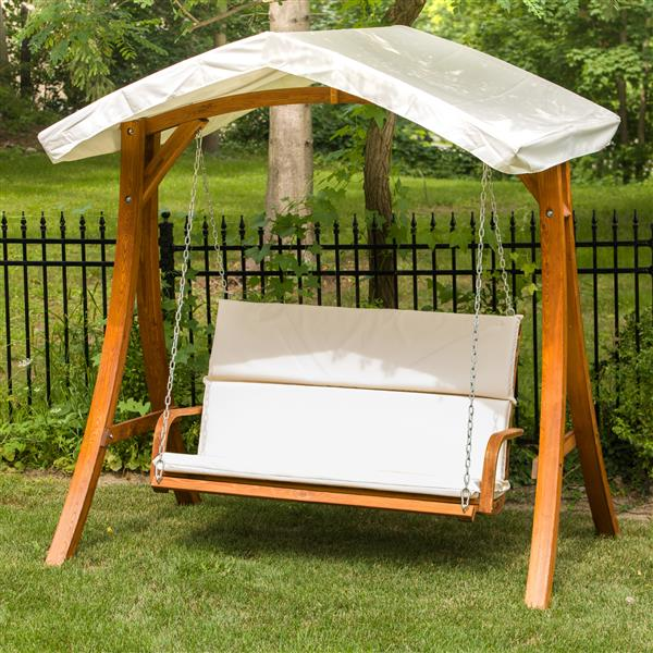 """Wooden Swing Seater with Canopy - 75""""W x 51""""D x 76""""H"""