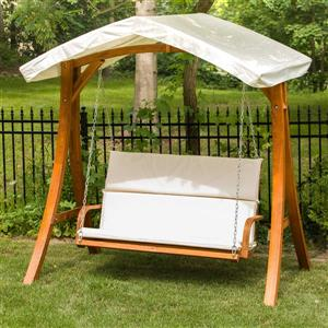 Leisure Season Wooden Swing Seater with Canopy - 75-in W x 51-in D x 76-in H