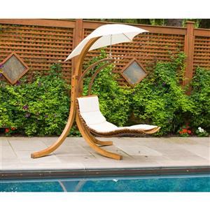 Balancelle en bois naturel avec parasol, blanc cassé