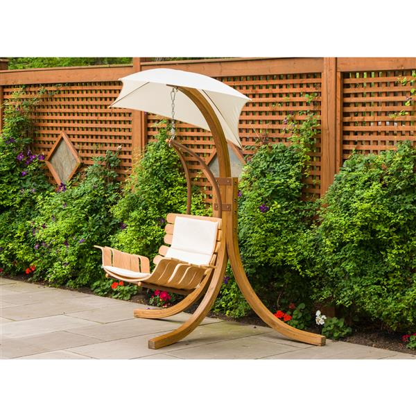 Wooden Suspended Swing Chair with Umbrella