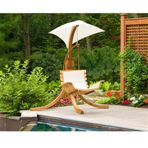 Leisure Season Wooden Suspended Swing Chair with Umbrella