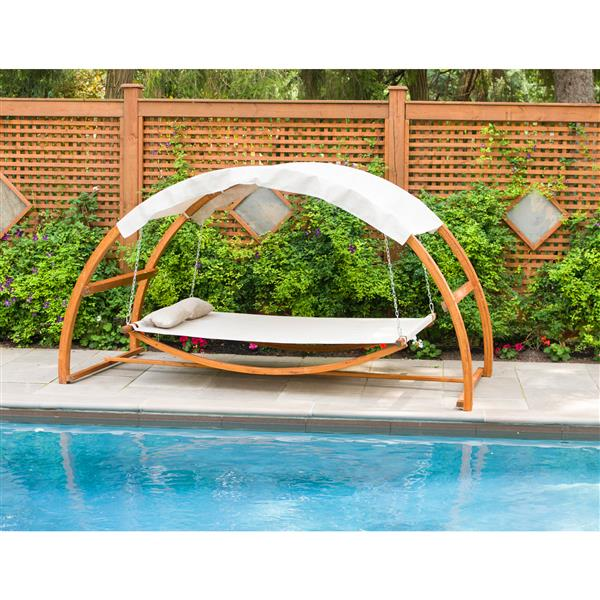 """Wooden Swing Bed with Canopy - 126""""W x 63""""D x 69""""H"""
