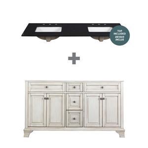 "Ensemble meuble-lavabo Corsicana, 60"" x 34,75"", granit, noir"