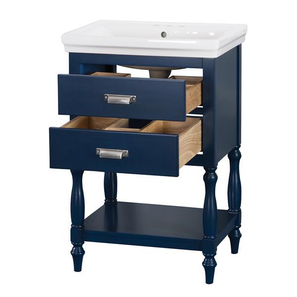"""Ensemble meuble-lavabo Cherie, 24"""" x 35"""", MDF, bleu"""