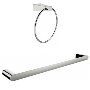American Imaginations Towel Ring - Single Rod Towel Rack Set - Chrome