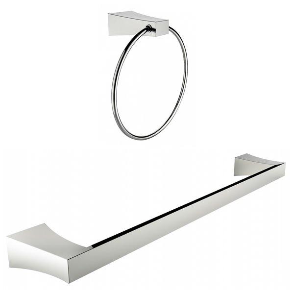 American Imaginations Single Rod Towel Rack Set - Chrome