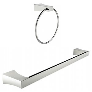 American Imaginations Single Rod Towel Rack Set - Chrome