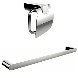 American Imaginations Toilet Paper Holder with Rod Towel Rack Accessory Set
