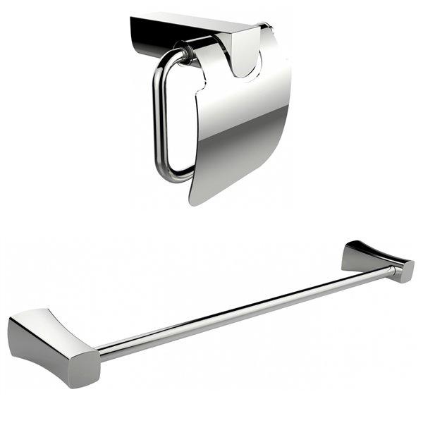 American Imaginations Toilet Paper Holder - Single Rod Towel Rack Set - Chrome