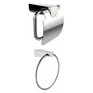 American Imaginations Towel Ring - Toilet Paper Holder Set - Chrome