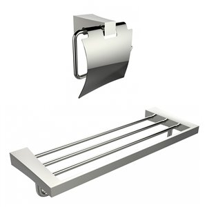 American Imaginations Towel Rack with A Toilet Paper Holder Accessory Set
