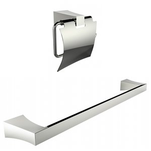 American Imaginations Toilet Paper Holder with Single Rod Towel Set - Chrome