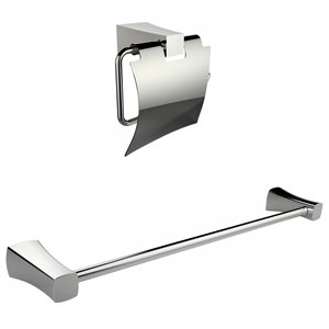 American Imaginations Toilet Paper Holder with Single Rod Towel Rack Accessory Set