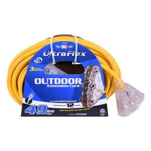 UlltraFlex Extension Cord - 3 Outlets - 125 Volts - Yellow