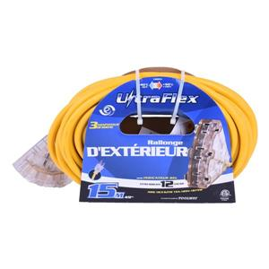 Rallonge Électrique UltraFlex, 3 prises, 125 volts, jaune