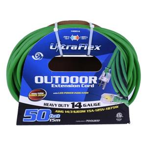 Toolway UlltraFlex Extension Cord - 1 Outlet - 125 Volts - Green