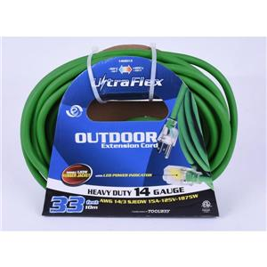 Toolway Extension Cord - 10m - 1 Outlet - 125 Volts - Green