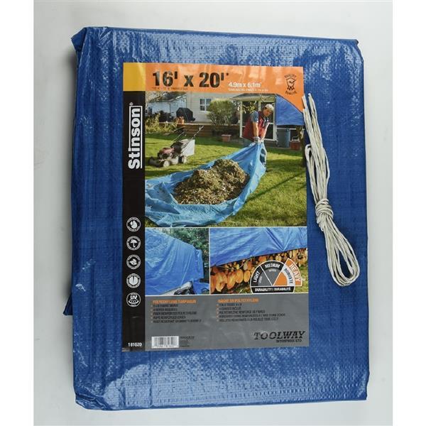 Tarpaulin - 16' x 20' - Polyethylene - Blue