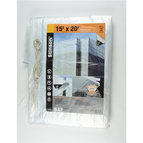 Toolway Tarpaulin - 15-ft x 20-ft - Plastic - Clear