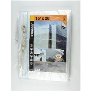 Toolway Tarpaulin - 15-ft x 20-ft - Plastic - Clear