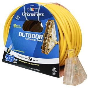 Toolway UltraFlex Outdoor Extension Cord - 30.5m - Yellow