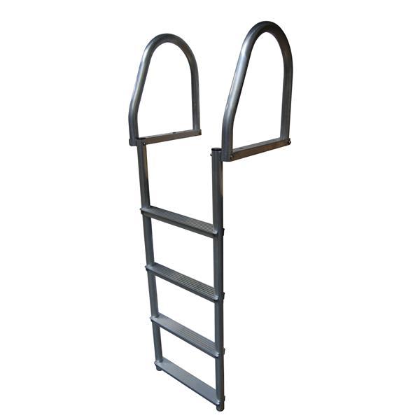 Dock Edge + ECO Flip-Up Dock Ladder - 4 Steps - Aluminum - Gray