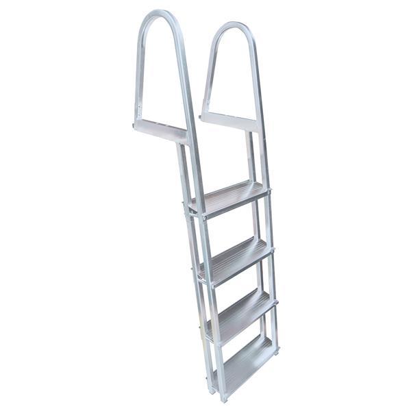 Échelle de quaie inclinée, 4 marches, aluminium, gris