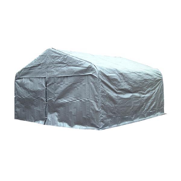 Grand abri pour voiture, double, 20' x 16', couleur gris