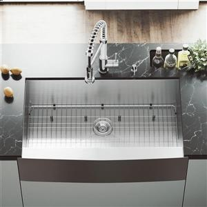 VIGO Stainless Steel Kitchen Sink - With Grid And Strainer - 36-in