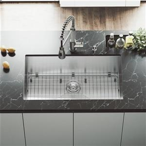 Stainless Steel Kitchen Sink - Grid and Strainer - 32''
