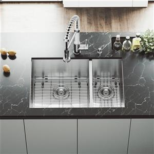 Stainless Steel Kitchen Sink - Grids/Strainers - 29''