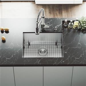 Stainless Steel Kitchen Sink - Grid/Strainer - 23'' x 18''