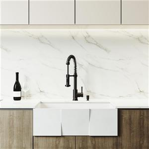 Square Front Kitchen Sink - Matte Stone - 30''
