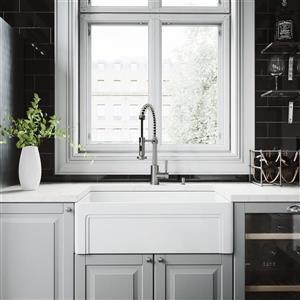 Évier de cuisine avec façade en pierre mat, 30''