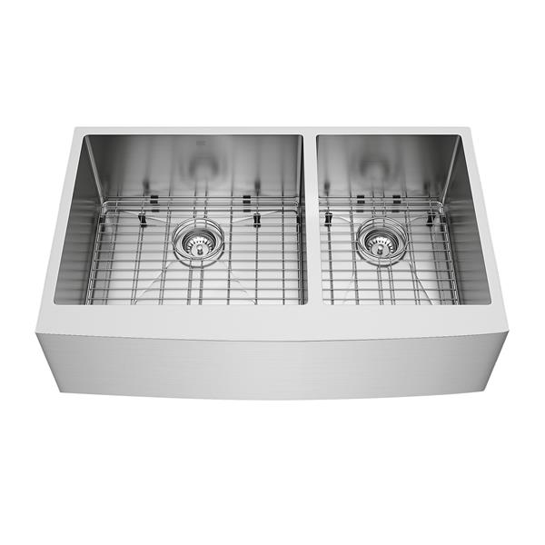 VIGO Kitchen Sink - Two Grids And Two Strainers - 36-in