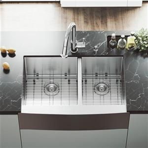 VIGO Kitchen Sink - Two Grids And Two Strainers - 33-in