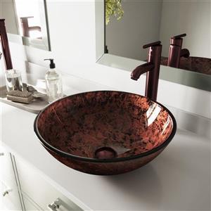 Vasque de salle de bain avec robinet, Mahogany Moon