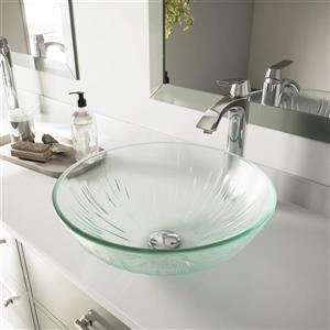 Glass Vessel Bathroom Sink with Faucet - Icicles
