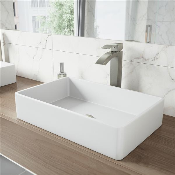 Vessel Bathroom Sink With Faucet - White