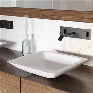 Vessel Bathroom Sink with Wall Mount Faucet - White