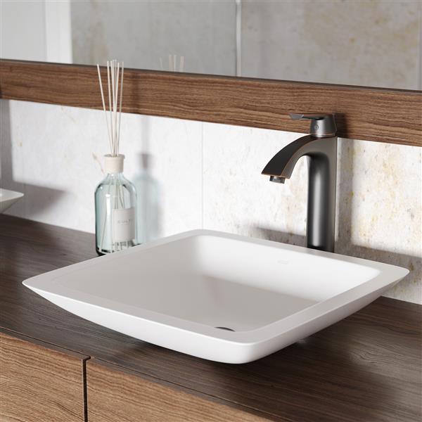 VIGO Vessel Bathroom Sink with Faucet - White